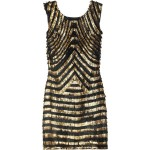 Gucci Metallic-striped fringed leather dress