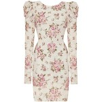Ladies mulheres Pink Cream Rose Floral Lace mangas