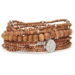 Lisa Freede - Sandalwood Malas Bracelet with Swarovsky