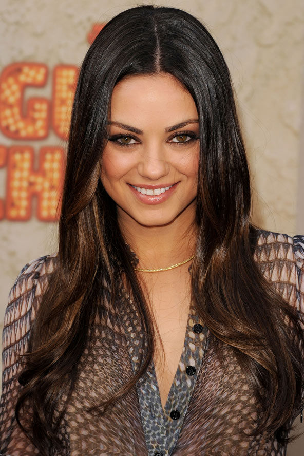Mila Kunis wears her glossy long brunette locks with a subtle dip-dye ...